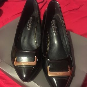 Shoes - Black patton leather and gold buckle 1.5 inch flat